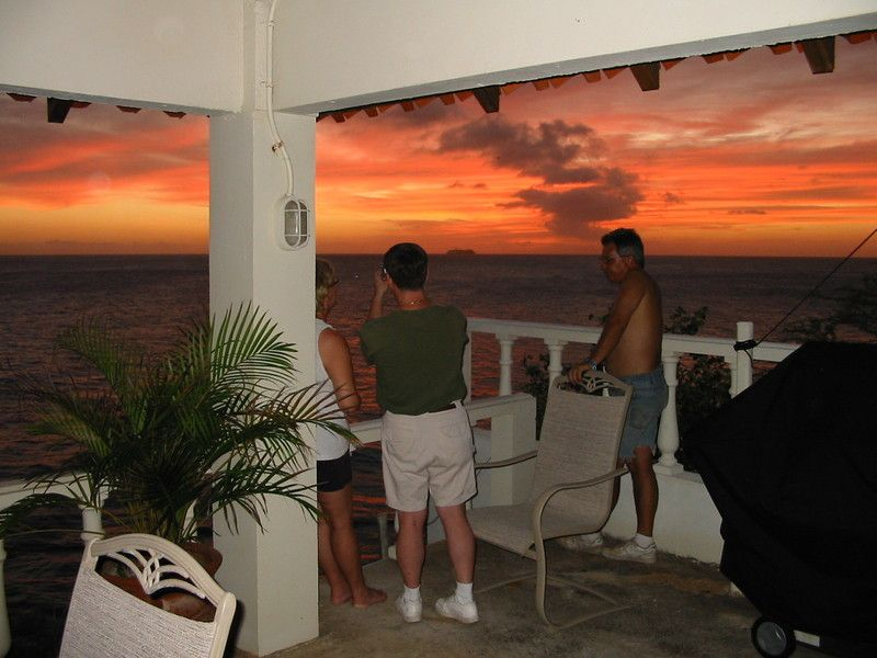 (L-R) Cindy, Scott and Geoff watching cruise ship at sunset.