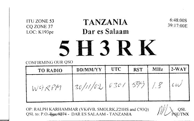 This QSL from 5H3RK gave me 40 zones on 160m