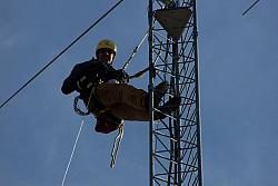 Michael KB9TWI came to install feedlines, rotor cable, relay box 12v lines and dress cables down the tower.