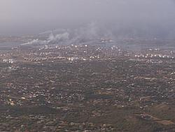Aerial view of Curacao - smoke is from Oil Refineries