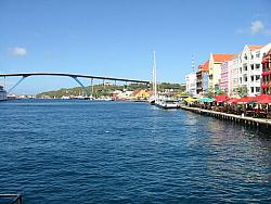 Punda waterfront, with Queen Juliana Bridge in background - Willemstad, Curacao